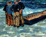 Painting of four men launching a currach, from Achill: The Island