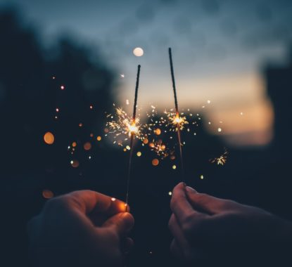 Two hands holding New Year sparklers
