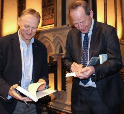 John Scally and Joe Schmidt signing copies of Beautiful Thoughts for Beautiful Minds