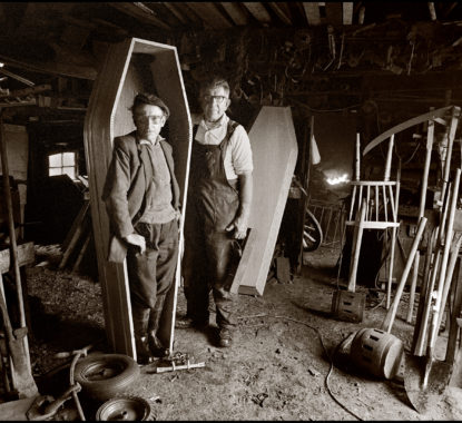 A coffin maker measures up a customer in Co Kerry in 1985