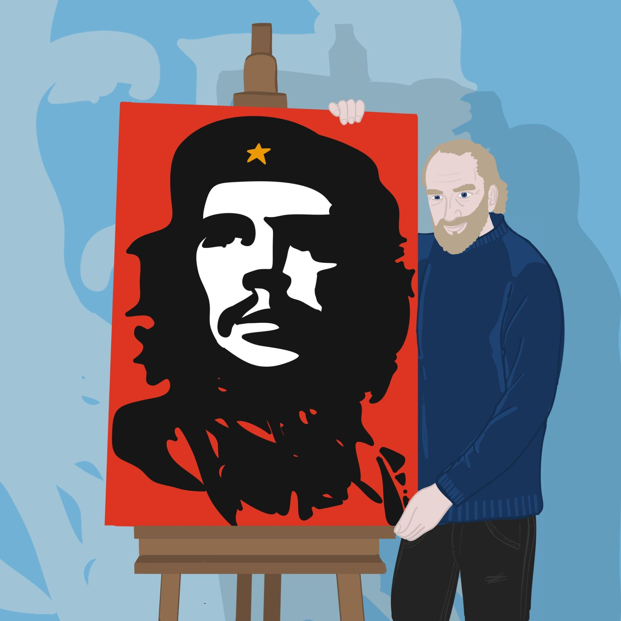 Illustration of Jim Fitzpatrick with Che Guevara portrait