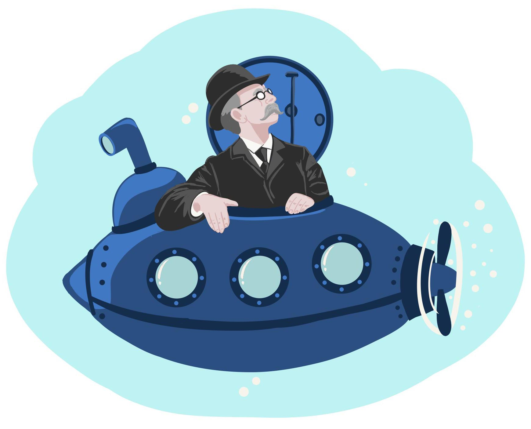 Illustration of John P. Holland in a submarine