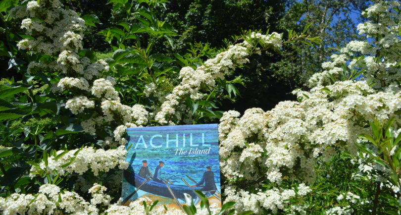 Achill The Island poetry book surrounded by flowers