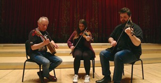 Dónal Lunny playing traditional Irish music with Isle of Man musicians Tom and Isla Callister at The Royal Conservatoire of Scotland