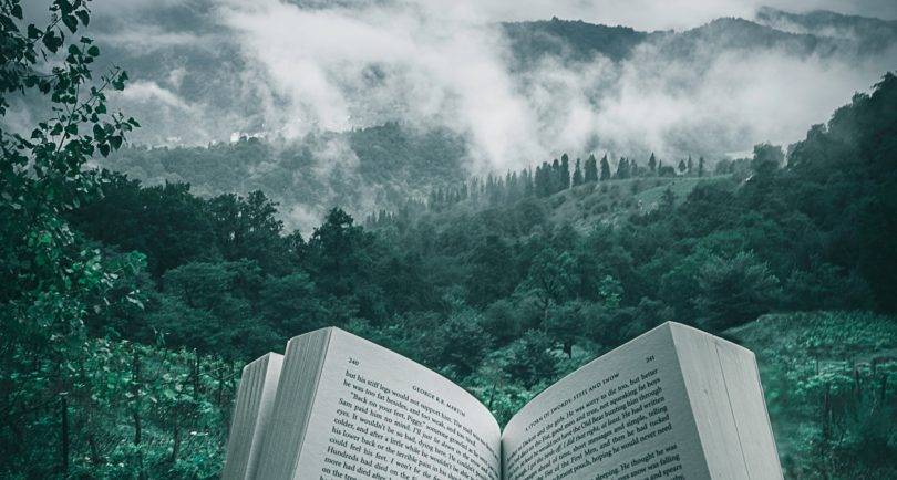 book-open-in-front-of-mountains-and-forests
